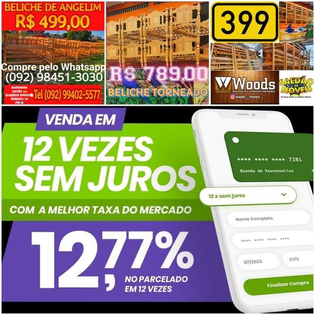 Beliche Madeira lei  Beliche Gavetas Premium No cartão crédito 12x
