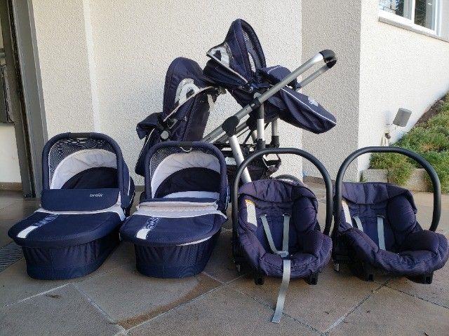 Carrinho Duplo Gêmeos - Brevi Sistema de Viagem, Azul Marinho - Foto 2