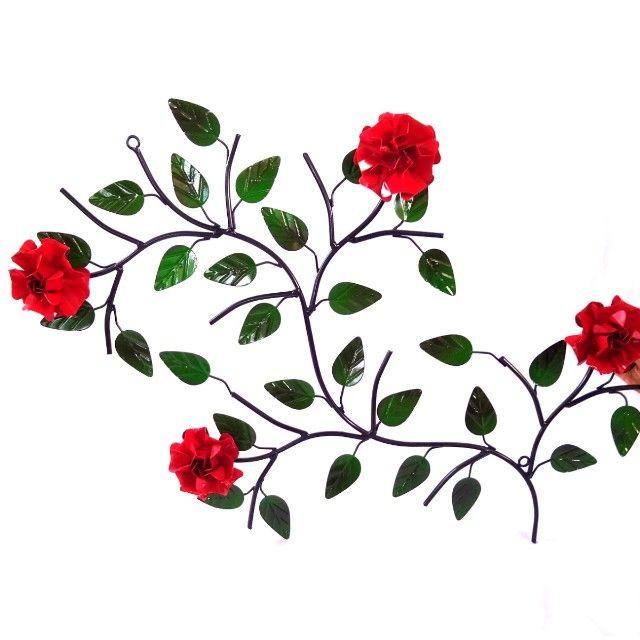 Quadro de ferro super resistente com 4 rosas artesanato rústico decoração - Foto 5