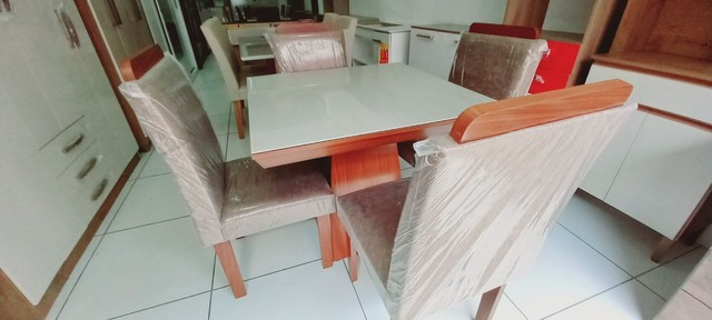 Conjunto Mesa LJ Moveis PIETRA 4 Cadeiras 90 X 90cm