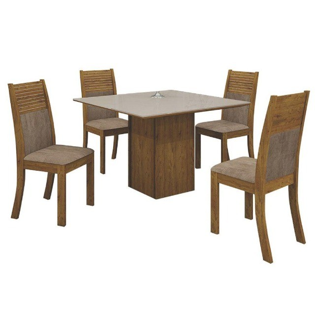 Conj.Mesa de Jantar Leifer 4 cadeiras Napoli 90x90 c/Tampo vidro (Canela/offwhite)  - Foto 2