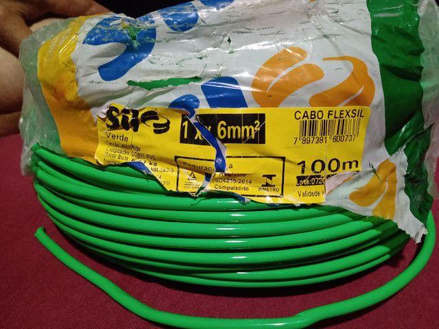 Cabo flexível verde  e azul 6 mm