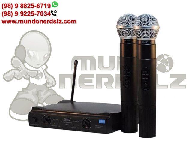 Microfone Sem Fio Duplo Uhf Wireless 110/220 Vts Lelong Le-906 em São Luís Ma - Foto 6