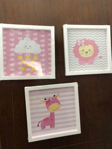 Kit infantil com 3 quadros para a decoração do quarto do bebê. 25x25 - Foto 4