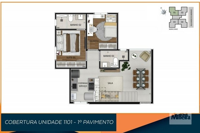 Apartamento à venda com 3 dormitórios em Santa branca, Belo horizonte cod:325034 - Foto 3
