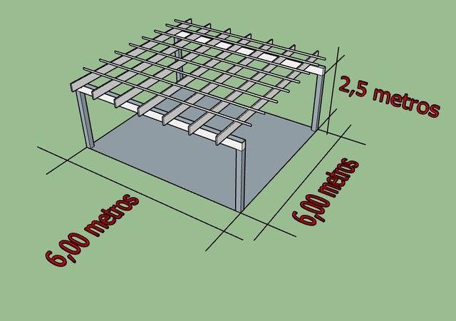 Pergolado metálico 6,00 largura x 6,00 comprimento x 2,5 metros  - Foto 2