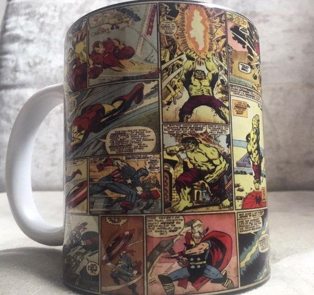 Caneca Marvel quadrinhos porcelana 325ml