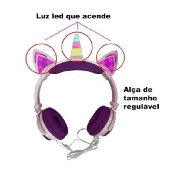 Fone De Ouvido Infantil Unicórnio para Meninas com Luzes de LED. Mod. FON-8524 Inova - Foto 3