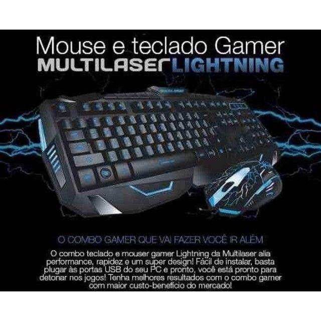 Kit Gamer Teclado E Mouse Multilaser Lightning Azul Usb TC195 - Foto 2