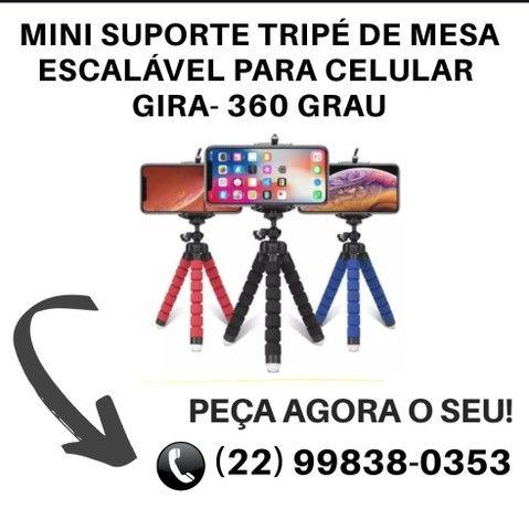Mini Suporte Tripe De Mesa  Para Celular Gira- 360º