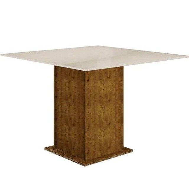 Conj.Mesa de Jantar Leifer 4 cadeiras Napoli 90x90 c/Tampo vidro (Canela/offwhite)  - Foto 4
