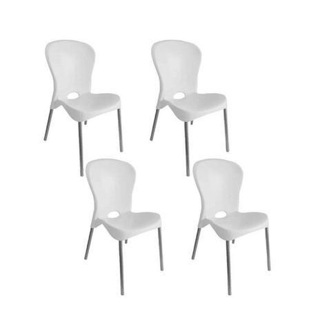 Kit com 4 Cadeiras com pés de aço Montes Claros Preta - Antares - Foto 2