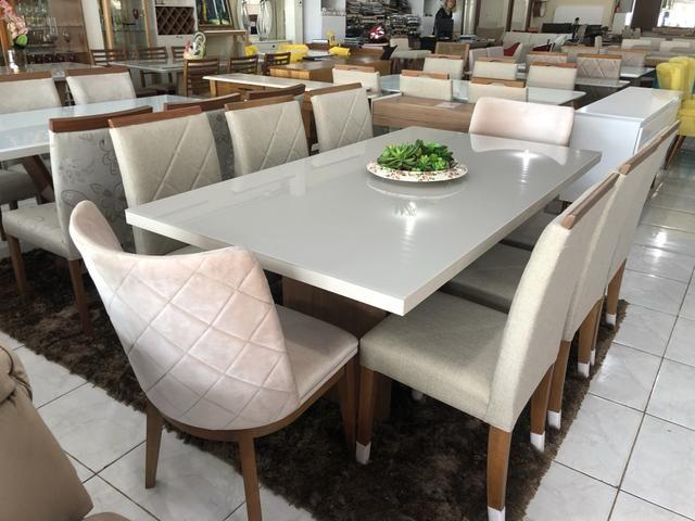 Mesa prazeres retangular nova!! Com 8 cadeiras madeira - Foto 3