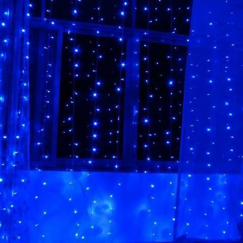 Cortina Azul De Led 110v 3x3m 8 Funções Pisca/ Fixa 320 Leds - Foto 3