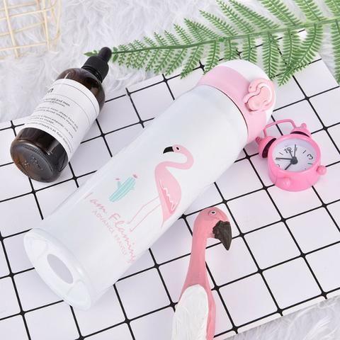 Garrafa Térmica De Inox 450 ML com Estampa de Flamingo