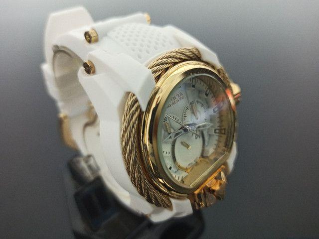 Relógio masculino invicta Magnum pulseira branca - Foto 3