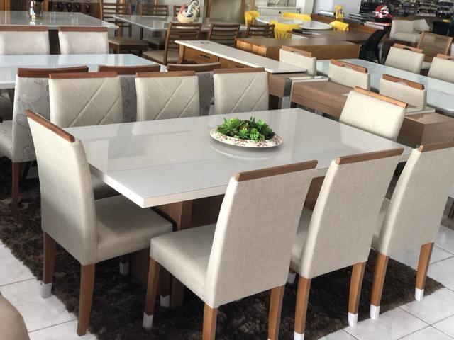 Mesa prazeres retangular nova!! Com 8 cadeiras madeira - Foto 4