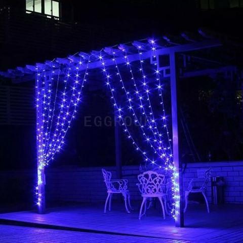 Cortina Azul De Led 110v 3x3m 8 Funções Pisca/ Fixa 320 Leds - Foto 2