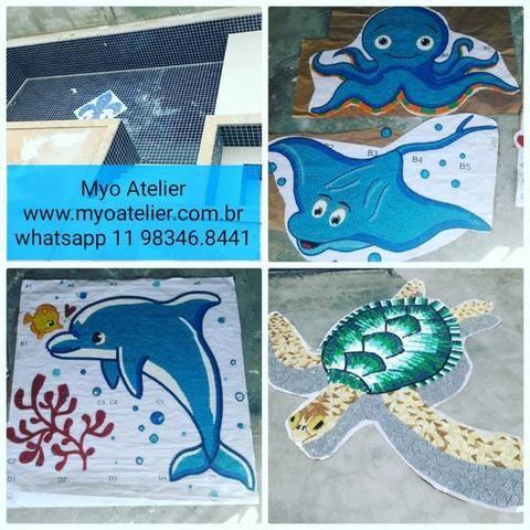 Golfinho para piscina, mosaico piscina, fundo de piscina, desenho piscina, adesivo piscina - Foto 5