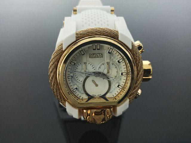 Relógio masculino invicta Magnum pulseira branca - Foto 4