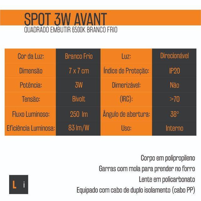 60 SpotS Led Quadrado Embutir 3W Avant Branco Frio - Caixa com 60 unid - Foto 3