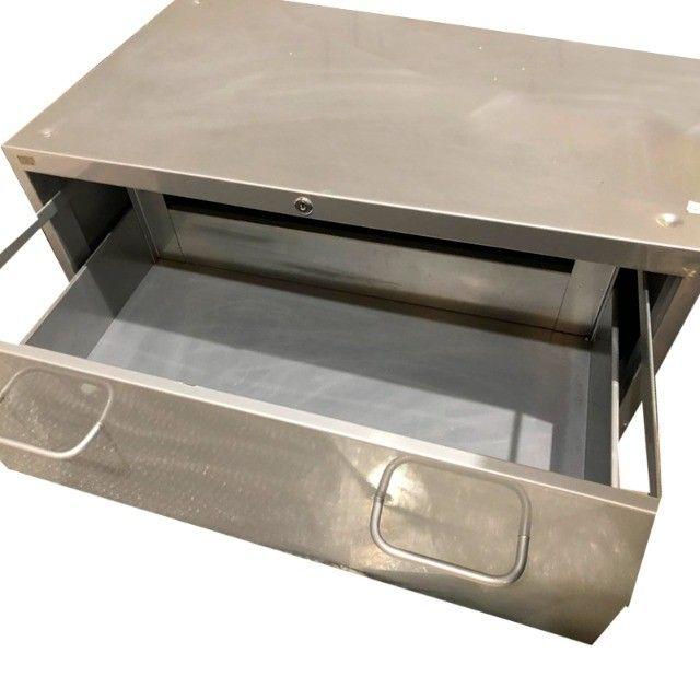 Armário Arquivo com 3 gavetas em aço cinza - Foto 2