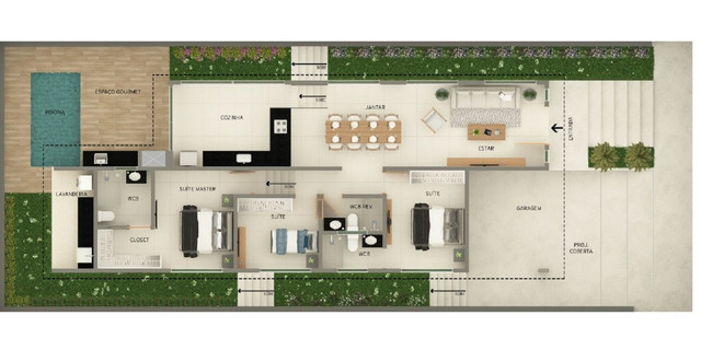 Casa com Piscina - 3 suites - Damha - Foto 2