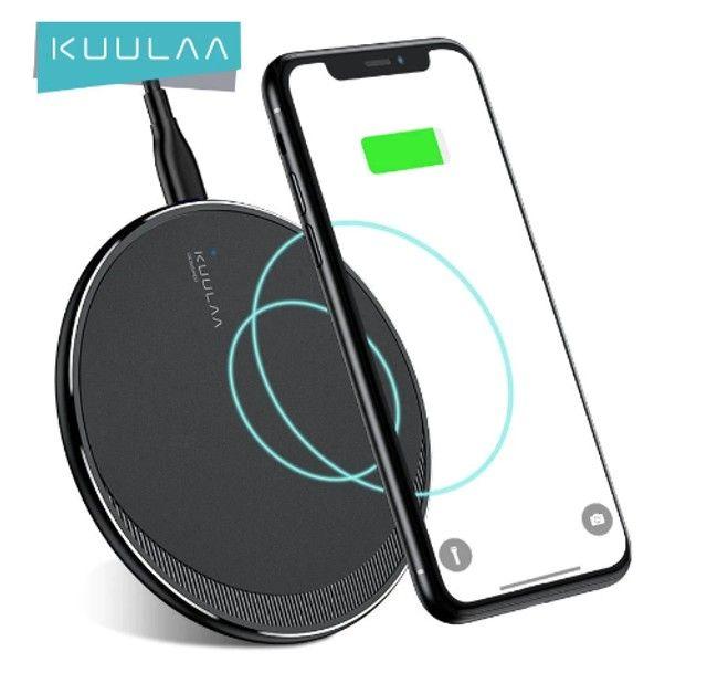 Carregador Kuulaa de 10W, carregamento sem fio para Iphone 8 e samsung s6 edge em diante