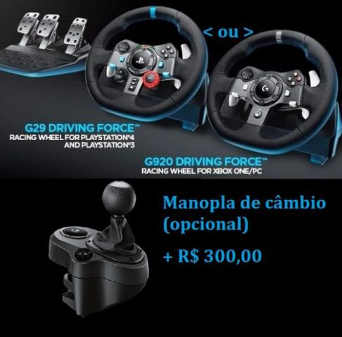 volante logitech g29 ps4 g920 xbox one manopla de c mbio. Black Bedroom Furniture Sets. Home Design Ideas