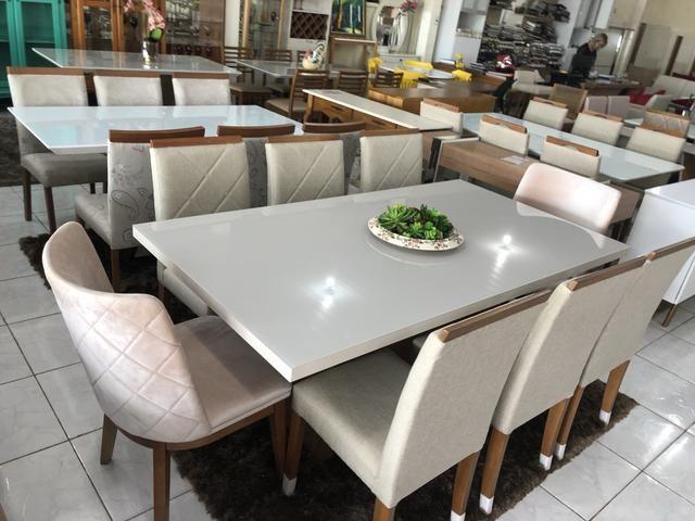 Mesa prazeres retangular nova!! Com 8 cadeiras madeira - Foto 2