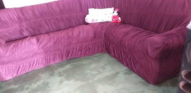 Capa de sofá de canto vinho