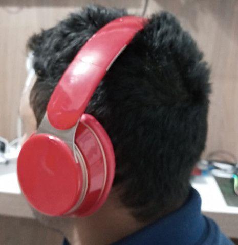 Fone ouvido Bluetooth vermelho - Foto 2