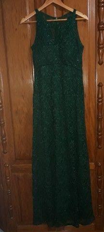 Vestido longo verde escuro - Foto 3