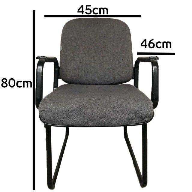 Cadeira para escritório sala de espera com apoio de braços e cor cinza - Foto 4