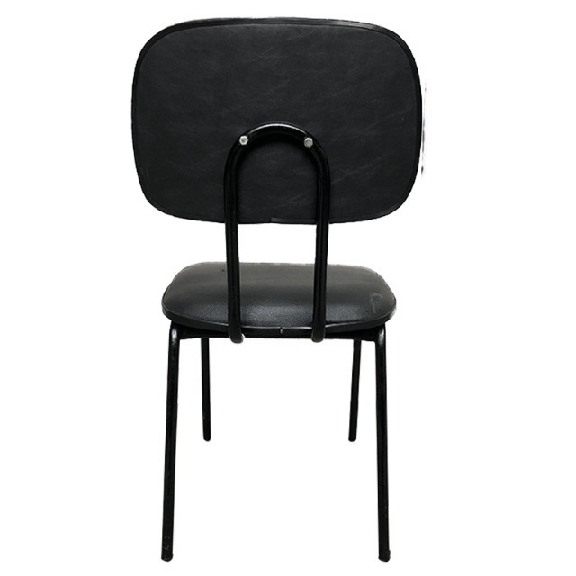 Cadeira fixa com assento e encosto em courino preto - Foto 3