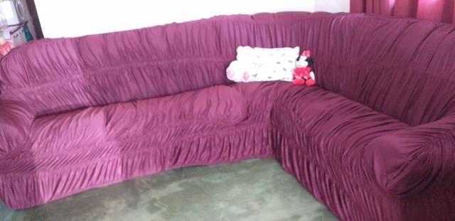 Capa de sofá de canto vinho - Foto 2
