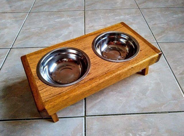 Comedouro em madeira para cães e gatos! - Foto 2