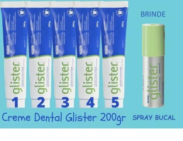 Kit 5 Creme Dental Glister de 200g ganhe de Brinde Spray Bucal Glister