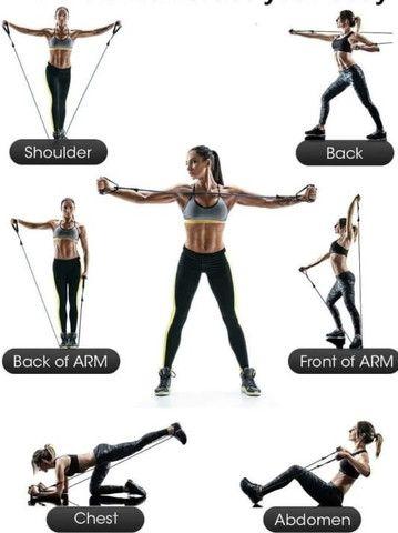 Kit 14 Peças com 04 Elásticos Extensores Musculação Pylates CrossFit Funcional - Foto 2