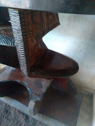Rack mesa e banco tudo de madeira