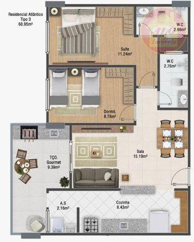 Apartamento com 2 dormitórios à venda, 68 m² por R$ 314.600 - Vila Guilhermina - Praia Gra - Foto 2