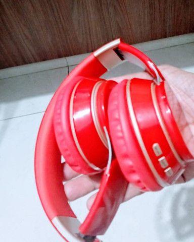 Fone ouvido Bluetooth vermelho - Foto 5