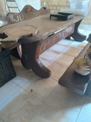 Rack mesa e banco tudo de madeira  - Foto 3