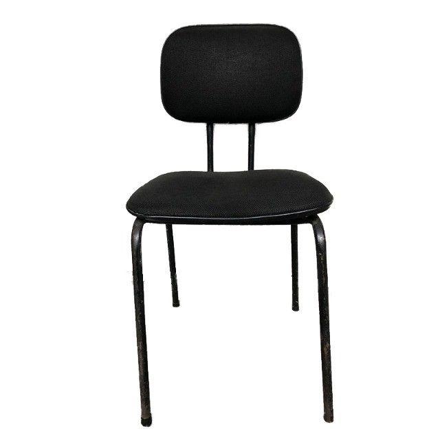 Cadeira fixa para escritório sala de espera em tecido preto