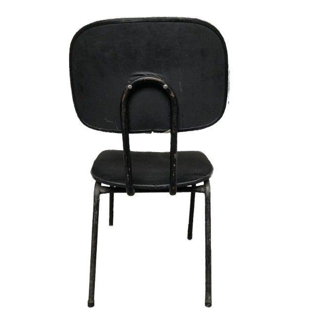 Cadeira fixa para escritório sala de espera em tecido preto - Foto 3