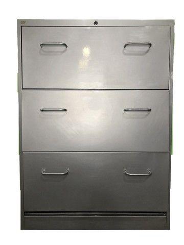 Armário Arquivo com 3 gavetas em aço cinza