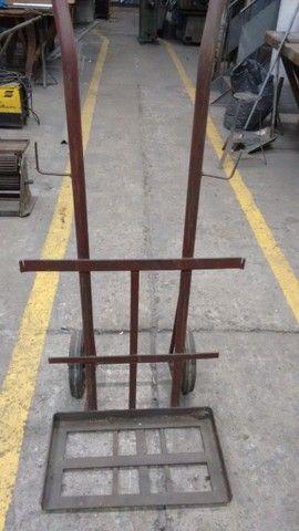 02 carrinhos reforçados de tranporte para cilindros ou mercadorias