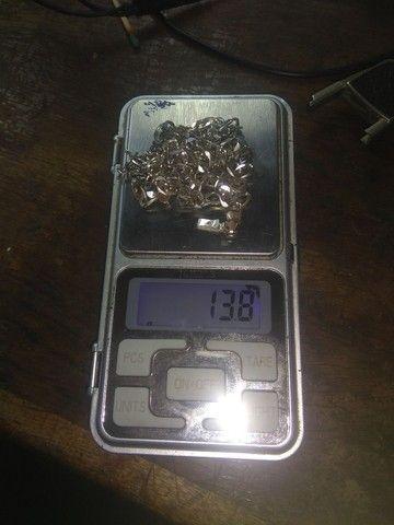 Kit corrente prata 3mm 70cm, pulso e  pingente