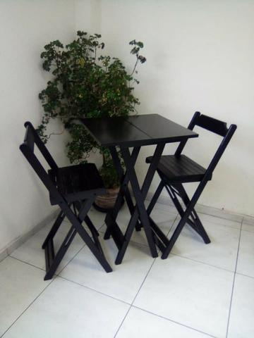 Jogo De Mesa Quadrada Com 2 Cadeiras Bistrô Dobráveis Madeira - Foto 2
