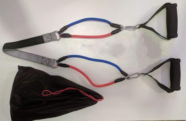 Kit 14 Peças com 04 Elásticos Extensores Musculação Pylates CrossFit Funcional